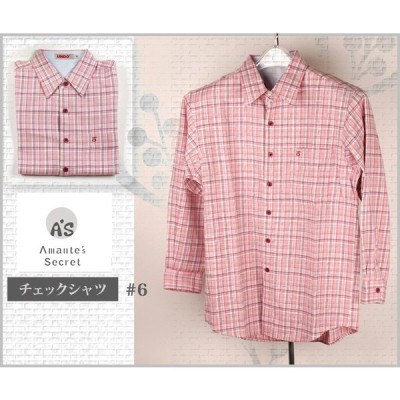 【メンズ】チェックのカジュアルメンズシャツ【Mサイズ】【白地×ピンク多めチェック】