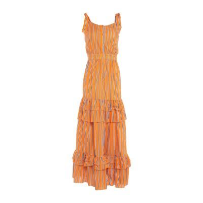 WEILI ZHENG ロングワンピース&ドレス オレンジ M コットン 100% ロングワンピース&ドレス