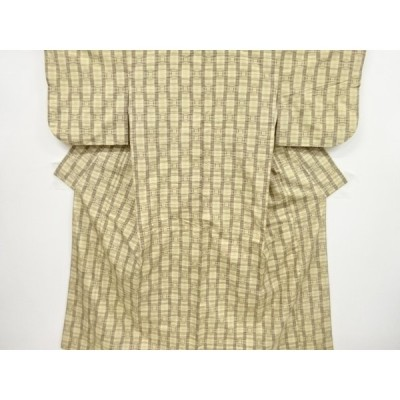 リサイクル 縞に抽象模様織り出し手織り真綿紬着物