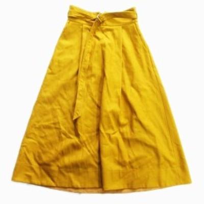 【中古】グリーンレーベルリラクシング ユナイテッドアローズ フレア ロング スカート タック ベルト付き 38 黄色