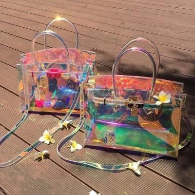バッグ クリアバッグ オーロラバッグ ショルダーバッグ ハンドバッグ ビニールバッグ PVC 透明 防水 インナーポーチ付き 夏 リゾート プール 海 旅行