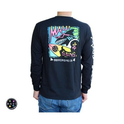Maui and Sons マウイアンドサンズ  長袖Tシャツ ロンT 「SHAKE SONS L/S Tee」黒