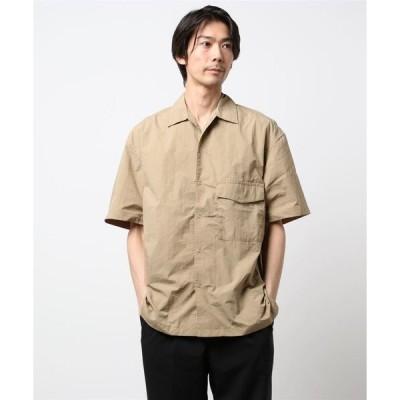 シャツ ブラウス ナイロンドットボタン半袖シャツ *