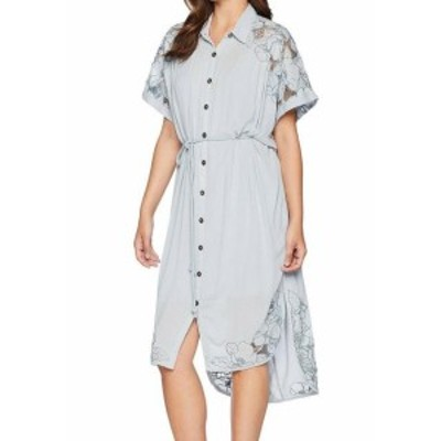 Free People フリーピープル ファッション ドレス Free People Womens Blue Size Large L Floral Embroidered Shirt Dress