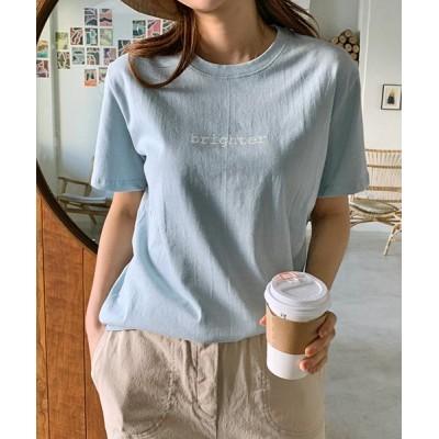 【サードスプリング】 MAYBLUE(メイブルー)レタリングTシャツ- Tシャツ ロゴ プリント 半袖 トップス レディース シンプル レディース ライト ブルー フリー 3rd Spring
