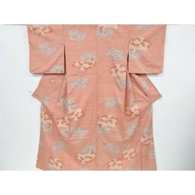 宗sou 地紙に花模様織り出し手織り真綿紬着物【リサイクル】【着】