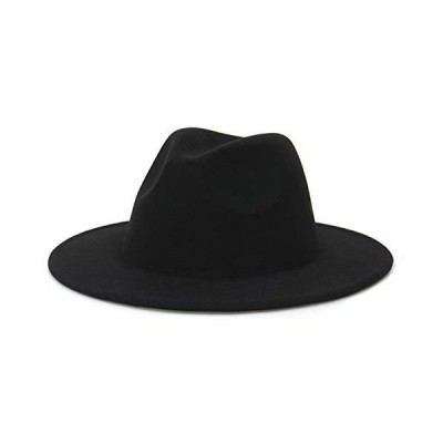 EOZY Women & Men Fedora Hat Wide Brim Unsex Floppy Panama Hat Cap Black