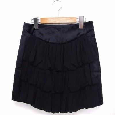 【中古】ツモリチサトドレス TSUMORI CHISATO DRESS スカート ティアード 台形 ミニ 無地 シンプル シルク 2 ブラック 黒 /FT47 レディース 【ベクトル 古着】