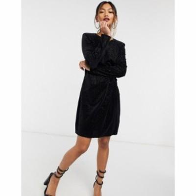 リバーアイランド River Island レディース ワンピース ミニ丈 ワンピース・ドレス shoulder pad high neck mini dress in black ブラッ