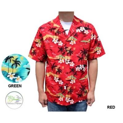 WINNEI FASHION ウィーニーファッション アロハシャツ A HUNDRED SUNSETS ハワイ製 赤 レッド 緑 グリーン