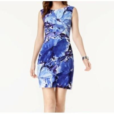 ファッション ドレス Connected Apparel NEW Blue Womens Size 14 Floral Tiered Sheath Dress