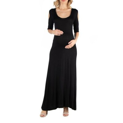 24セブンコンフォート レディース ワンピース トップス Half Sleeve Open Shoulder Maternity Maxi Dress