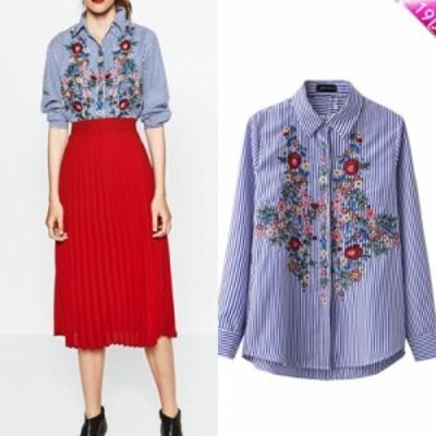 ストライプ 花刺繍 長袖 シャツ