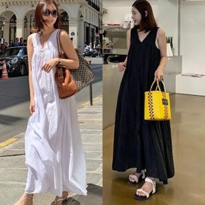 マキシワンピース 夏 ノースリーブ ワンピース 韓国 ファッション レディース 夏服 夏物 ワンピース  Aライン フレア コットン ゆったり