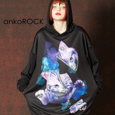 ankoROCK アンコロック パーカー メンズ プルオーバー レディース ユニセックス 服 ブランド 長袖 ロング丈 プリント 動物柄 猫 大きいサイズ ビッグシルエット
