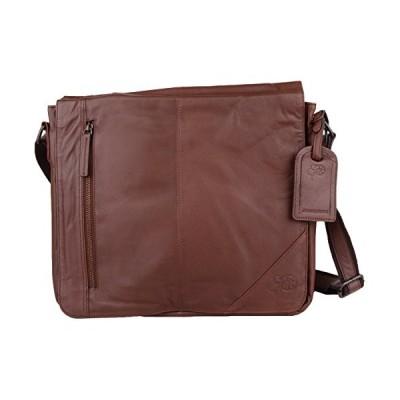 Mens Super Soft Premium Large Leather Messenger Bag (Black or Brown) (Tan) 並行輸入品