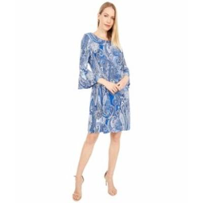 トミー ヒルフィガー レディース ワンピース トップス Paisley Jersey Bell Sleeve Dress Bay Blue Multi