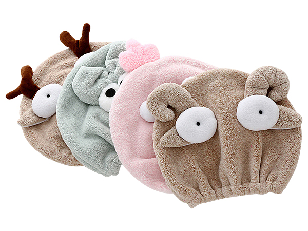 珊瑚絨可愛動物親子款乾髮帽(1入) 大人款/兒童款 圖案隨機出貨【D021882】