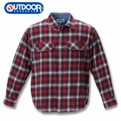 大きいサイズ OUTDOOR PRODUCTS ビッグポケット長袖オンブレチェックシャツ レッド 3L 4L 5L 6L 8L/1257-0350-1-59