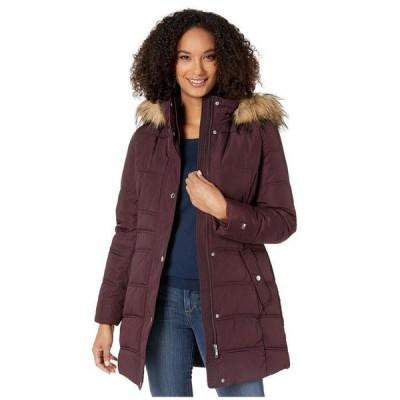 トミー ヒルフィガー レディース コート アウター Mid Length Hooded Puffer Jacket with Faux Fur trimmed Hood