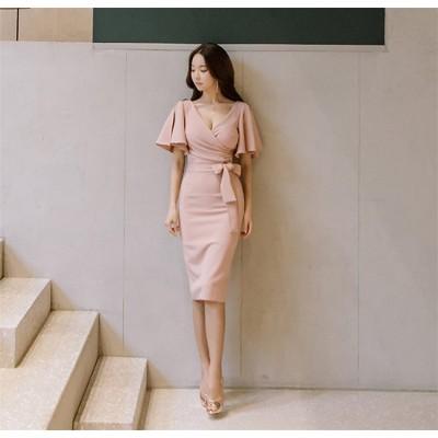 2018春と夏の女性の新しい韓国語バージョンのスプリットエンドパッケージのヒップドレスとVネックフリルの裾の袖