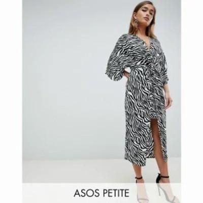 エイソス ワンピース ASOS DESIGN Petite kimono dress in midi length in zebra Animal print Zebra print