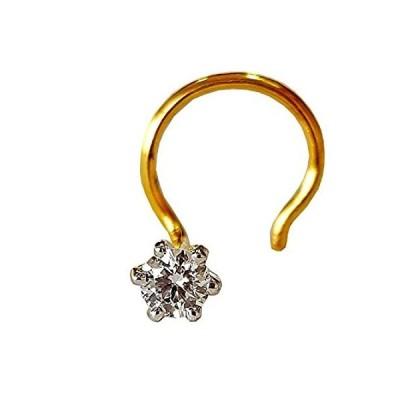 【新品】Diwani 14Kゴールド GII認定 2.5mm 天然ダイヤモンド婚約ウェディングノーズピアスリングスタッドピン(0.070セント、G-Hカラー)
