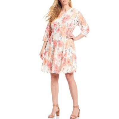 ジェシカハワード レディース ワンピース トップス Plus Size Floral Stretch Lace 3/4 Sleeve A-Line Dress