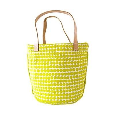 See Design Leather Handle Circle Tote, Drops, Yellow 並行輸入品