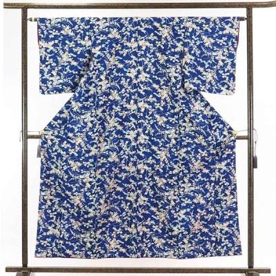 リサイクル着物 小紋 正絹紺地花柄袷小紋着物