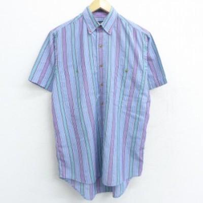 古着 半袖 シャツ 90年代 90s ボタンダウン 薄紺 ネイビー ストライプ Lサイズ 中古 メンズ トップス シャツ トップス 古着