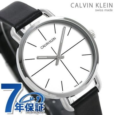 カルバンクライン 時計 レディース 腕時計 36mm シルバー×ブラック 革ベルト K7B231CY イーブン エクステンション CALVIN KLEIN