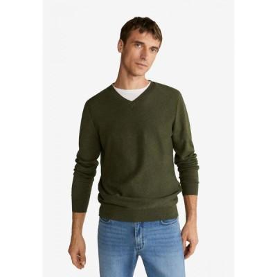マンゴー Mango Man メンズ ニット・セーター トップス Textured Cotton Cashmere-Blend Sweater Green