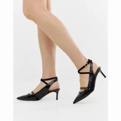 リバーアイランド ヒール sling back heels with stud strap in black Black