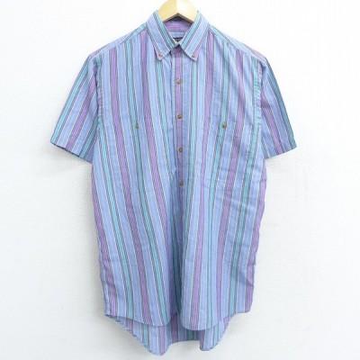 L/古着 半袖 シャツ 90s ボタンダウン 薄紺 ネイビー ストライプ 21mar29 中古 メンズ トップス