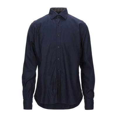 XACUS 無地シャツ  メンズファッション  トップス  シャツ、カジュアルシャツ  長袖 ダークブルー