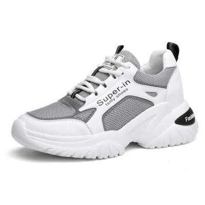 スポーツシューズ レディース 厚底 レースアップ 7cmアップ メッシュ 軽量 スニーカー 運動靴 黒 白 女性 ファッション ジョギングシューズ