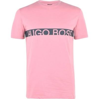 ヒューゴ ボス Boss メンズ Tシャツ ロゴTシャツ トップス Stripe Logo T Shirt Pink/Grey