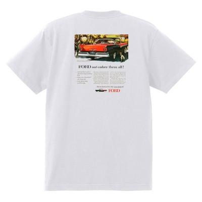 アドバタイジング フォード 874 白 Tシャツ 黒地へ変更可 1957 フェアレーン エドセル ランチェロ f100 ビクトリア