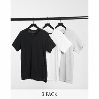 カルバンクライン Calvin Klein メンズ Tシャツ 3点セット トップス 3Pk T-Shirts In Black White And Grey マルチカラー