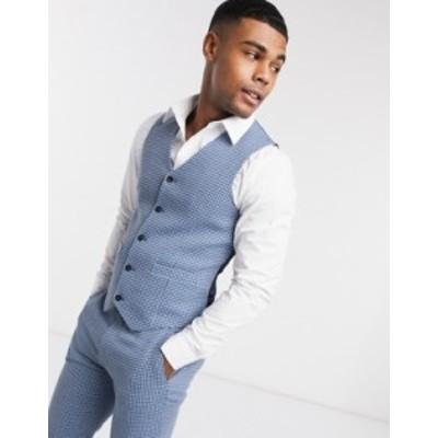 エイソス メンズ タンクトップ トップス ASOS DESIGN wedding super skinny wool mix suit suit vest in blue houndstooth check Blues
