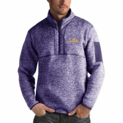 Antigua アンティグア スポーツ用品  Antigua LSU Tigers Heathered Purple Fortune 1/2-Zip Pullover Sweater