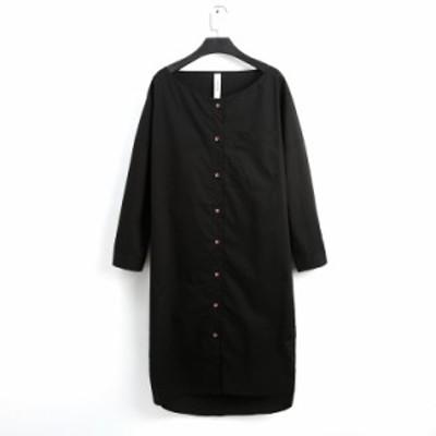 ワンピース 綿 ミディアム丈 長袖 30代 黒 無地 シングルブレスト Vネック 袖ボタン カジュアル レディース オールインワン 春夏