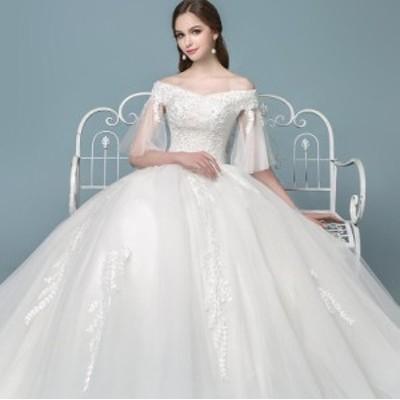 ウェディングドレス ボートネック 上品 ロング丈 チュール袖 きれいめ 刺繍花柄 フォーマル ブライダルドレス 結婚式 花嫁 着痩せ