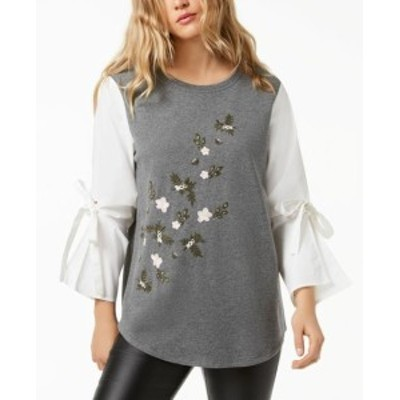 kensie ケンジー ファッション トップス Kensie Gray Womens Size XL Floral Embroidered Contrast Sleeves Sweater