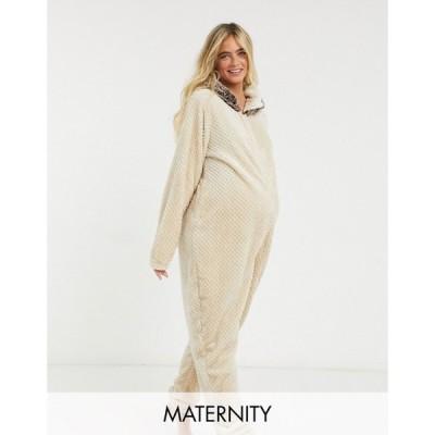 ラウンジャブル Loungeable レディース オールインワン マタニティウェア ワンピース・ドレス Maternity Hedgehog Onesie in waffle fleece-Cream クリーム