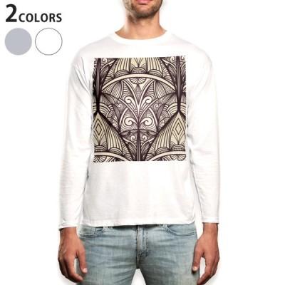 ロングTシャツ メンズ 長袖 ホワイト グレー XS S M L XL 2XL Tシャツ ティーシャツ T shirt long sleeve  ペイズリー ダマスク 花 000401