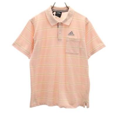 アディダス ボーダー 半袖 ポロシャツ M ピンク系 adidas ゴルフ メンズ 古着 210524