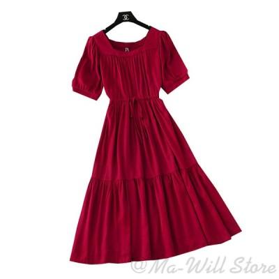 ワンピース レディース ドレス 半袖 ロング 綿麻 ベルト付き ハイウェスト パフスリーブ ゆったり お洒落 着痩せ