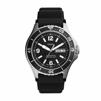 腕時計 フォッシル メンズ Fossil Men's FB-02 Quartz Silicone Three-Hand Watch, Color: Black Silicone